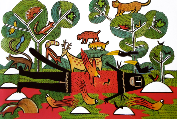 """Os bichos envolveram-se na caça de """"Naro, o Gambá"""" e acabaram por adquirir suas feições atuais, suas cores e seus habitats: bichos para flechar e comer!"""